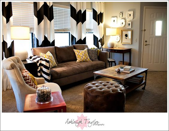DIY Chevron Curtains-Brown for Dining Room??