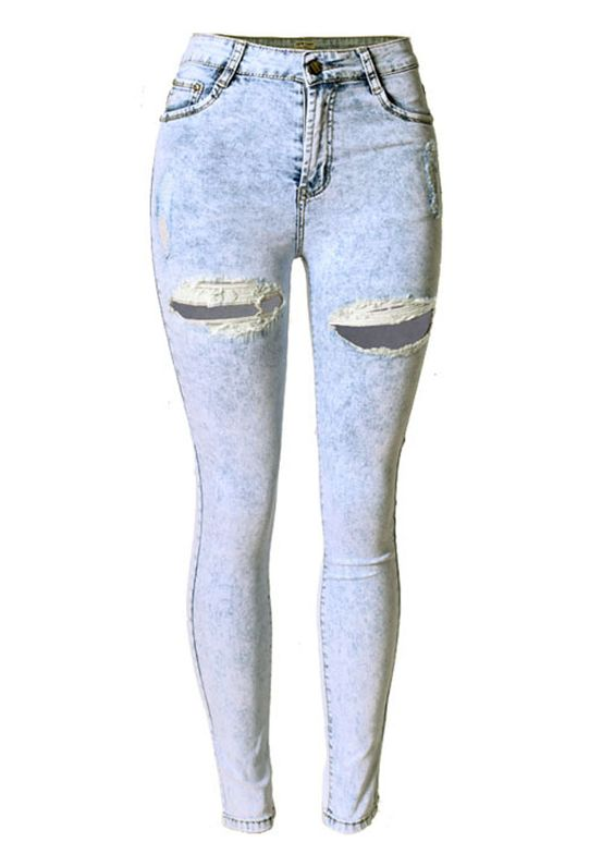 High Waist Snowflake Ripped Butt Lift Jeans_Butt Lifting Skinny ...