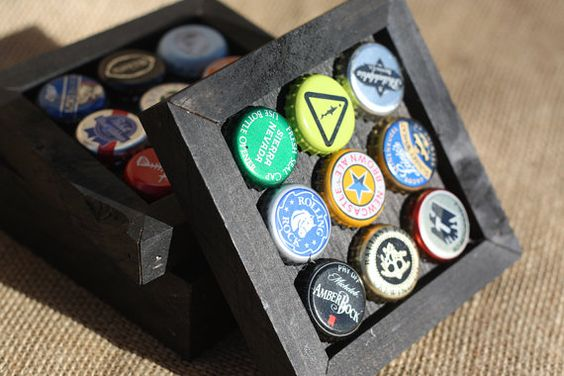 Recycled Assorted Bottle Cap Coasters Set of 4 by RufticDesigns