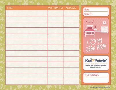 Free Printable Chore Chart- there are so many tools on this site for parenting support.  At our family meeting last night, Kendal let me know that she needed a chore chart.  Oh will she be sorry she said that....bwahahawaha