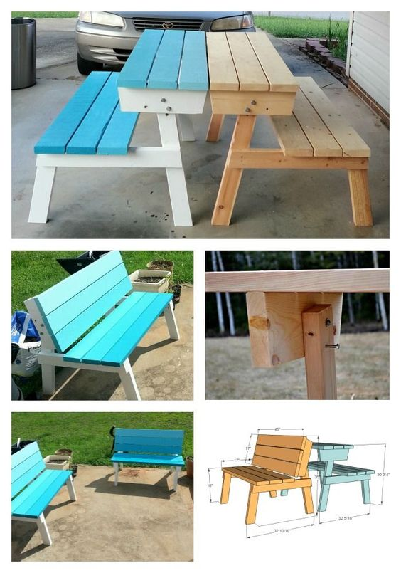Benches that convert to picnic table! Easier to make than you'd think! Free woodworking plans build project convertible picnic table by ana-white.com: