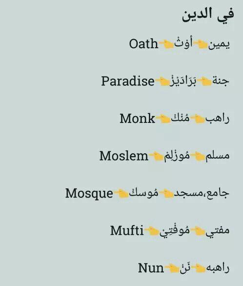 مصطلحات دينيه Learning Arabic Learn English Learning