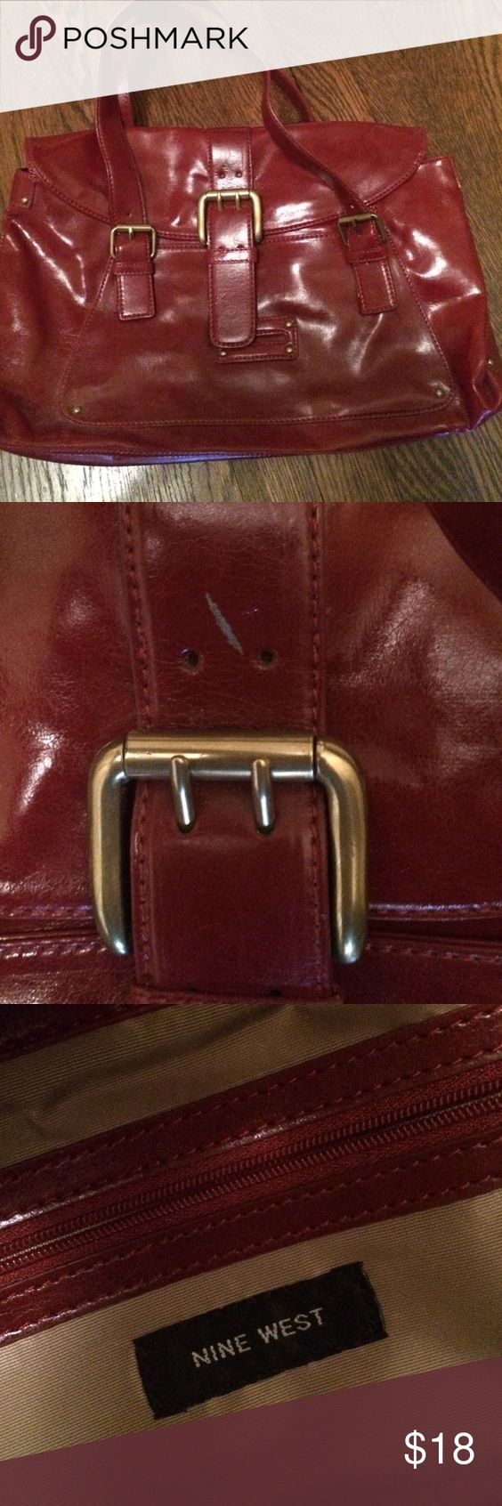 Nine West Red bag Red Ralph Lauren bag. Large size of  16 wide by 9 tall. One small blemish above buckle. See photo. Nine West Bags Totes