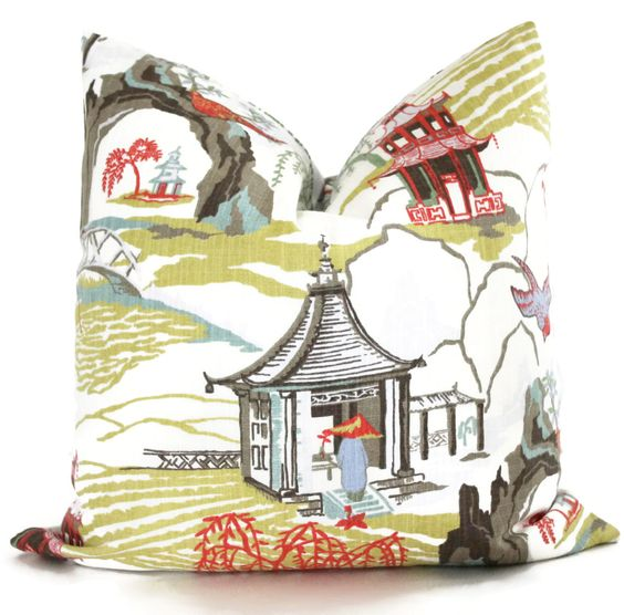 Neo Toile Coral Pillow Cover Robert Allen Lumbar Pillow - Accent Pillows, Throw Pillows, Toss Pillows, Chinoiserie Pillow, Pillow Case by PopOColor on Etsy