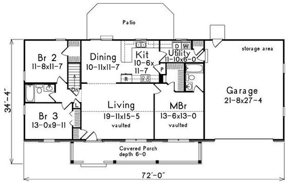 House Plan 5633 00022 Farmhouse Plan 1 400 Square Feet