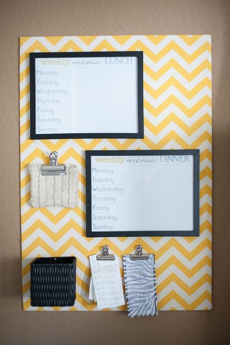 Yellow chevron weekly meal planning board made from foam core board. FREE download of the meal planner behind the glass!