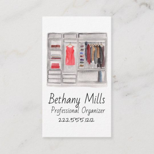 Watercolor Closet Organizer Business Card Zazzle Com With