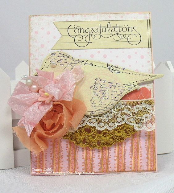 Image detail for -... Shabby Chic card Congratulations doily stamped chipboard bird flower