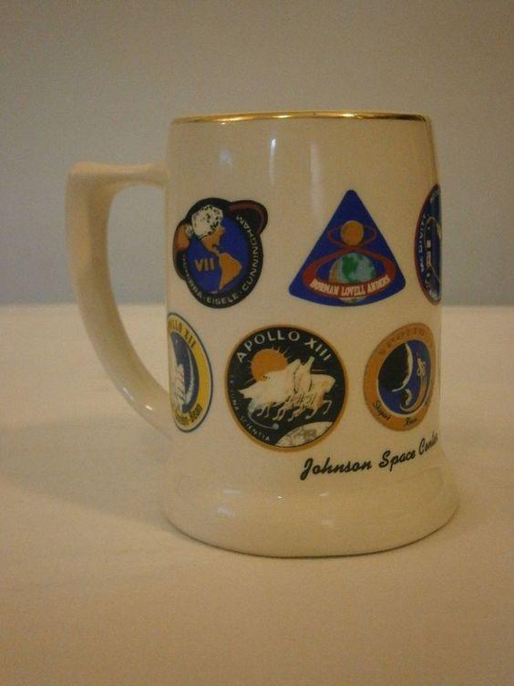 NASA Apollo Missions Johnson Space Center Houston  Vintage Ceramic Mug/Stein