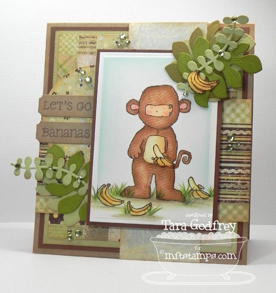 I made this card with the MFT Monkey Business Stamp Set and the Vine Border Die-namics.
