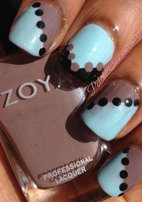 Nail art using @Revlon Waterfall and @Zoya Zinger Zinger Zinger Nail Polish Jana