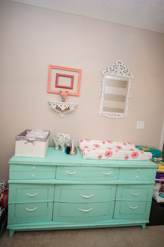 Best Distressed Mint Dresser For Baby Girls Nursery By Dahlias 640 x 480