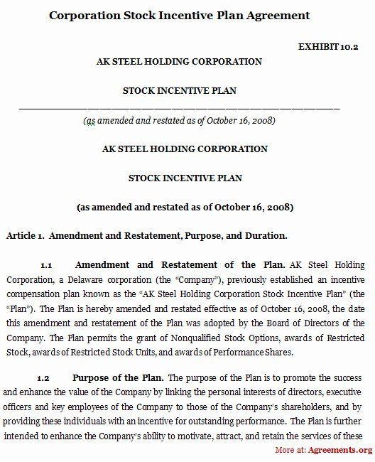 Sample Bonus Plan Document Elegant Corporation Stock Incentive