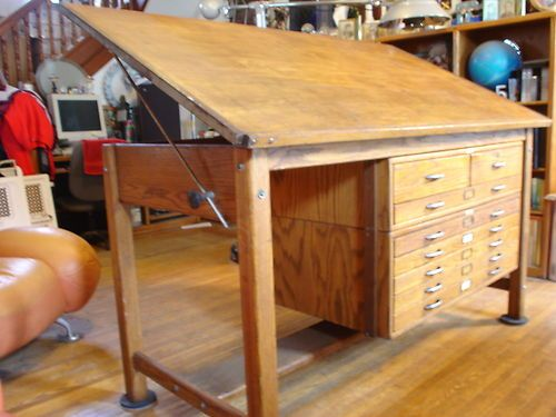 Vintage Industrial Oak Hamliton Drafting Table W Blueprint