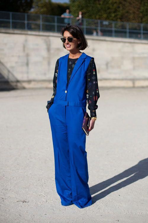 STREET STYLE SPRING 2013: PARIS FASHION WEEK - A jumpsuit gets the fun treatment in eye-catching cobalt. #streetstylejumpsuitchic