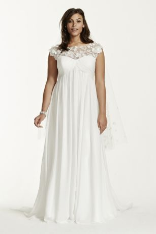 Cap Sleeve Chiffon A Line Plus Size Wedding Dress Style