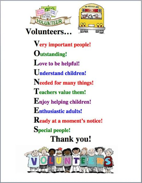 Volunteer Appreciation (from The Teacher's Post) (scroll almost to the bottom of the page--waaaay down!)
