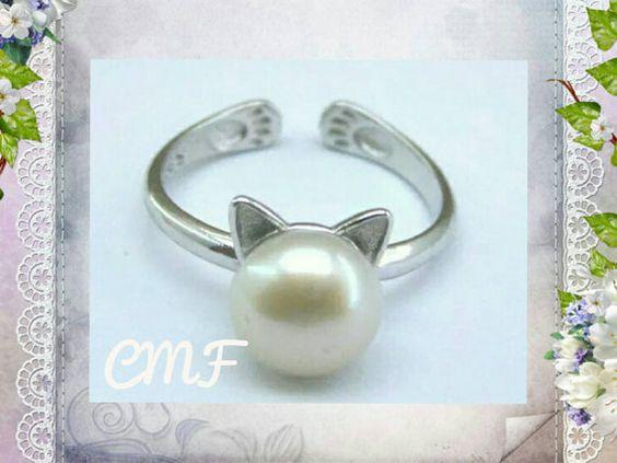 Gato anillo 925 plata perla anillo