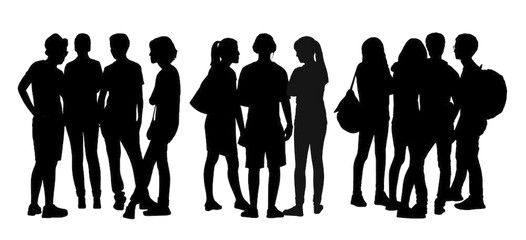 People Talking To Each Other Silhouettes Set 6 People Illustration People Talk Silhouette