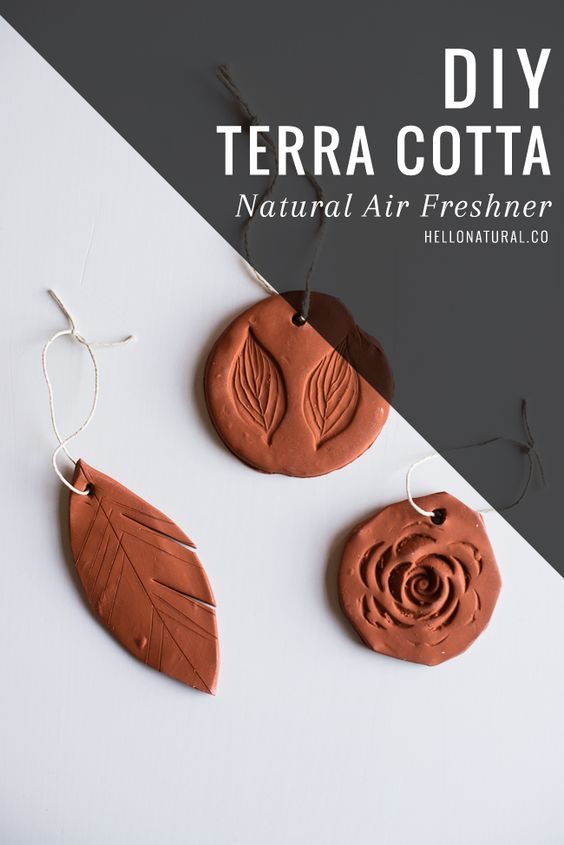 DIY Terra Cotta Air Fresheners with Essential Oils | HelloNatural.co