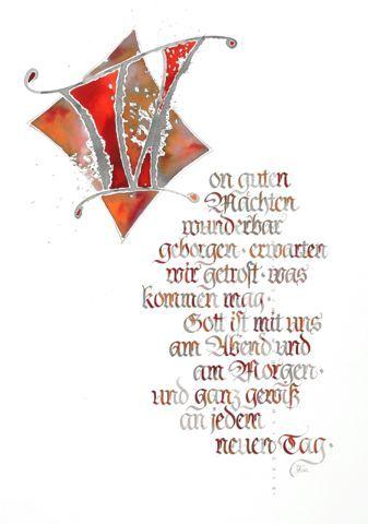 Grusskarte Von Guten Machten Schrift Karten Kalligraphie Buchstaben Kalligrafie