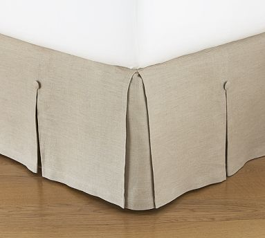 have and love ...(Pottery Barn - Pleated Button Bed Skirt - $99 to $119, linen or white)