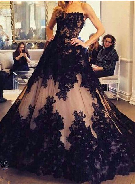 Chic Lace Appliques Ball Gown Evening Dress 2016 Strapless Sleeveless_Evening Dresses 2016_Evening Dresses_Special Occasion Dresses_High Quality Wedding dresses,Chic Lace Appliques Ball Gown Evening Dress 2016 Strapless Sleeveless: