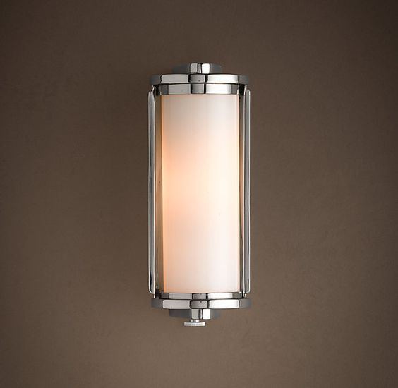 Hardware polished nickel and bathroom lighting on pinterest for Small bathroom wall sconces