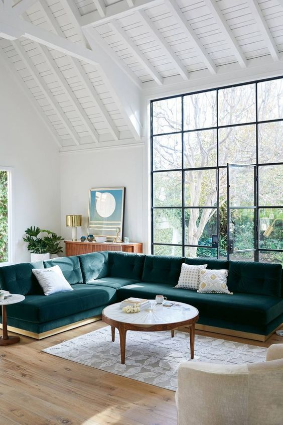 Scandinavian Living Room With Green Velvet Couch Big Windows With Beautiful Green Garden Outside And High White Ceilings House Interior Home Interior #small #living #room #big #couch