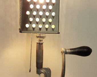 Meat Grinder Lamp Unique Lighting RePurposed by CreativeMarc