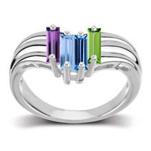 Personalized Chevron Baguette Family Birthstone Ring