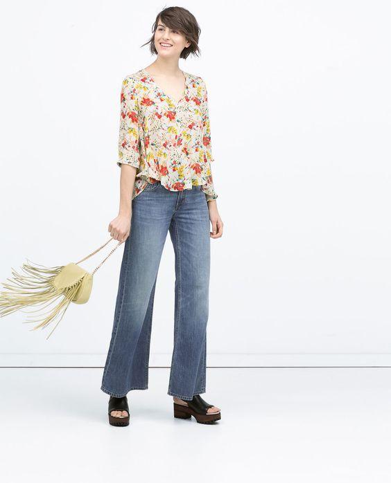 Imagem 1 de BLUSA C/ ESTAMPADO FLORES da Zara