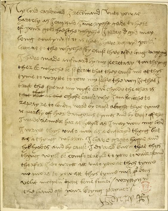Henry VIII's first wife, Catherine of Aragon, had been pregnant six times, but only one baby survived: Mary, born in 1516. This letter was written two years later by Henry VIII to Cardinal Wolsey, while Catherine was pregnant for the last time. He writes: 'I trust the quene my wyfe be with chylde'.