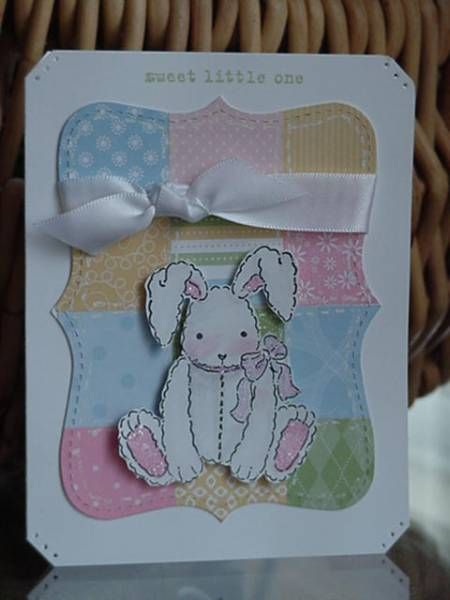 Don't know who to credit with the technique for the *quilt*  but I sure love it.  I added one of my favorite images (bunny from A New Little Someone) to make a shower card for a friend. Thanks for looking!