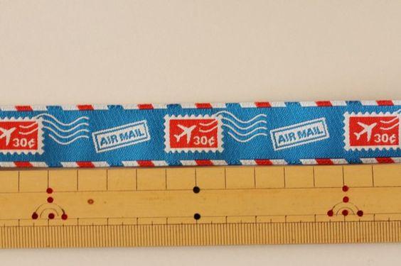 1m単位「Air Mail」USA製刺繍リボン usa-k18 幅22mm|リボン・テープ|ハンドメイド通販・販売のCreema