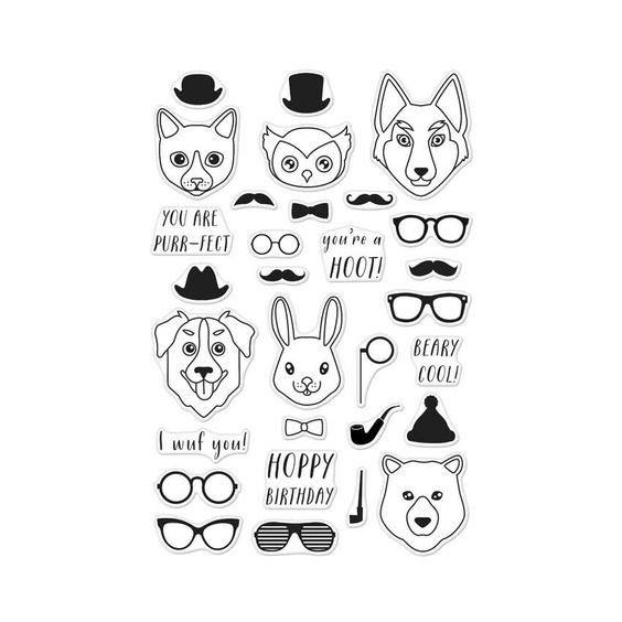 Hero Arts Clear Stamps HIPSTER ANIMALS CL952 at Simon Says STAMP!