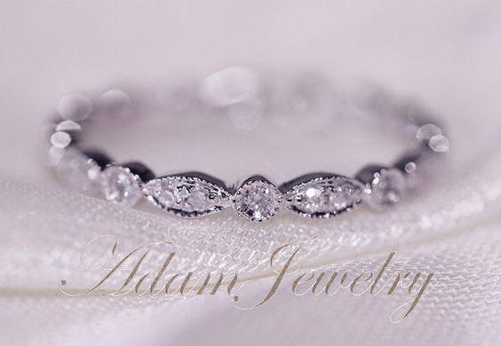 Art Deco Full Eternity Band 14k White Gold Wedding Ring Pave Diamonds Wedding Ring/ Promise Ring/ Engagement Ring/ Matching Band