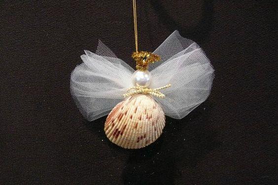 Seashell angel christmas ornament sea shells beach for Seashell ornaments diy