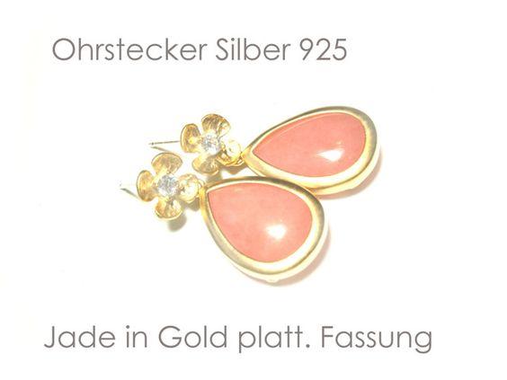 **Ohrringe Jade vergoldet** Ohrringe, vergoldet, mit Ohrsteckern aus Silber 925, vergoldeten Blüten mit Cubic Zirkonia und Tropfen aus rosa Jade (gef.). Für diese Ohrringe wurden Jade-Tropfen mit...