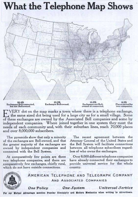 Historical map of bell telephone coverage in the us