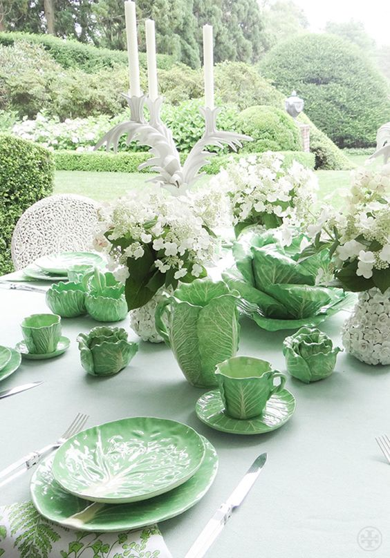 Tory's collection of original Dodie Thayer lettuce ware. Photo by Noa Griffel: