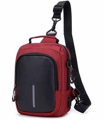 Sling Shoulder Back Pack Genuine Leather Crocodile Grain Men Messenger Chest Bag