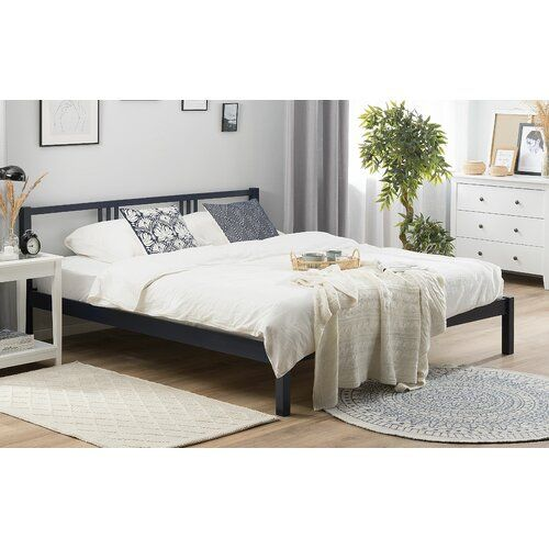 Marius Bed Frame August Grove Colour Navy Blue Size Super King