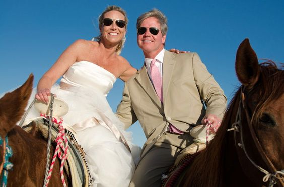 Riding off into the sunset after their destination wedding at Zoetry Resorts