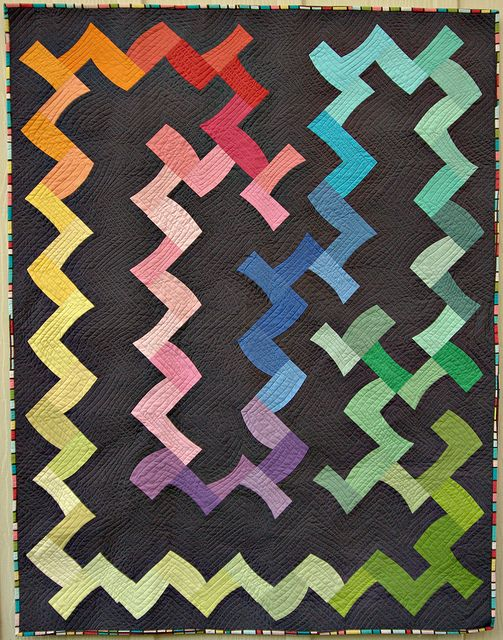 Kona solids challenge quilt from Pippin Sequim. Such a unique and funky design! Love it!