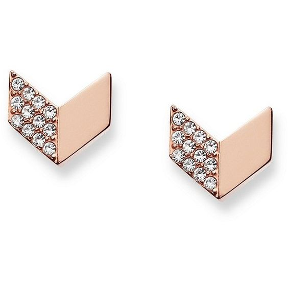 Fossil Vintage Glitz Chevron Earrings ($38) ❤ liked on Polyvore featuring jewelry, earrings, stud earrings, vintage earrings, vintage jewellery, rose gold tone earrings and steel jewelry