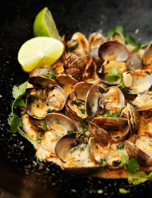red curry, coconut and ginger Infused steamed clams