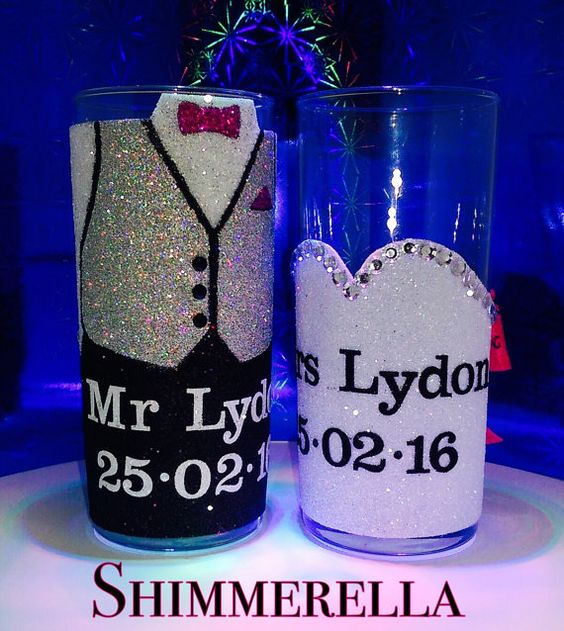 Wedding glasses by Shimmerella on Etsy