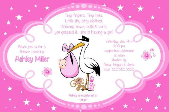 girl baby shower invitation - stork | baby shower | pinterest, Baby shower invitations