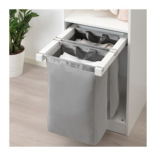 Komplement White Pull Out Storage Bag 50x58x48 Cm Ikea In 2020 Laundry Room Storage Ikea Komplement Room Storage Diy